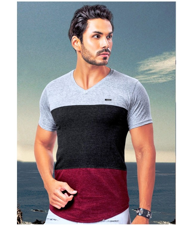 9a01fce141e Ansh Fashion Wear Stylish V Neck Striped Half Sleeves Maroon   Grey ...
