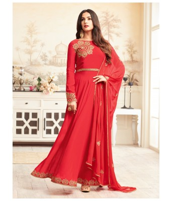 Dress Material - Red Party Faux Georgette Semi-Stitched Salwar Suit/Anarkali Gown With Dupatta - RK Fashions