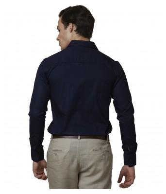 Lisova Navy blue Mens Plain Formal Slim Fit Shirt