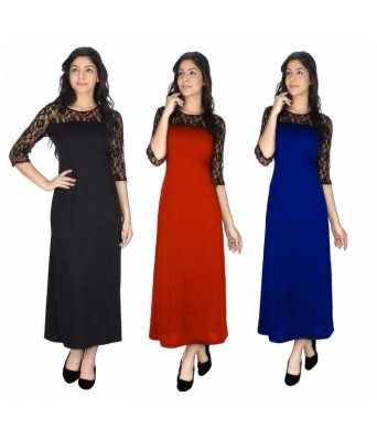 StarShop20 Black Blue Red Solid A-line Maxi Pack of 3Dresses