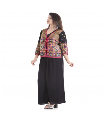 V Brown Womens Kutch Embroidered Koti Sleeveless Gujarati Koti Jacket. Assorted Colours and Designs.