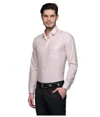 Koolpals Men Formal Rich Cotton Blend Shirt pink Solid