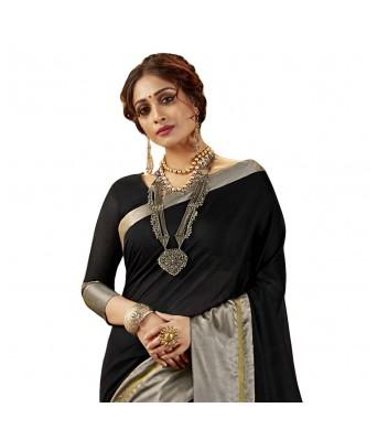 Shakunt Weaves Black Cotton Silk Casual Wear Plain Saree