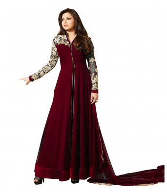 Dress Material - Maroon Party Georgette Semi-Stitched Dress Material With Dupatta - RK Fashions