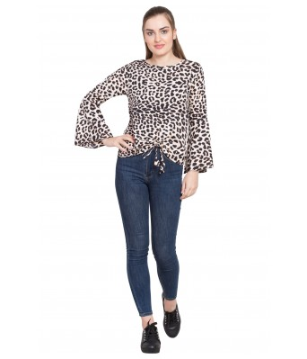 LeSuzaki Womens Black Color Poly Crepe Top with Cheetah and Leopard Print