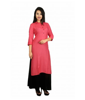 This V Brown kurti Combo, Set has beautifully design by latest creation of V Brown. Cotton Fabric Light in weight and keep you at ease all day. The combination of Solid kurti Straight  Kurti Designer 3/4 Sleeve Kurti giving a excellent look.