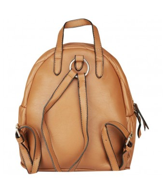 Caterfly Womens Stylish PU Leather Brown Adjustable Strap Casual Backpack Bag