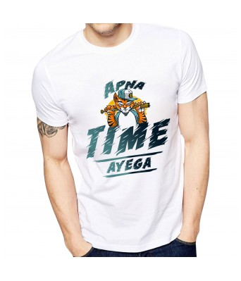 Ghantababajika Mens Printed Apna Time Ayega T-Shirt Quote Printed T-Shirts