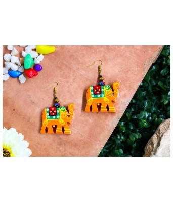 Art By Sargam Handicrafts yellow elephants wooden earrings contemporary for girls and women beautiful and quirky