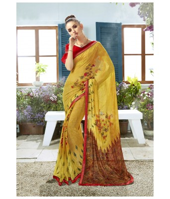 Triveni Yellow Georgette Casual Wear Printed Saree with Blouse Piece