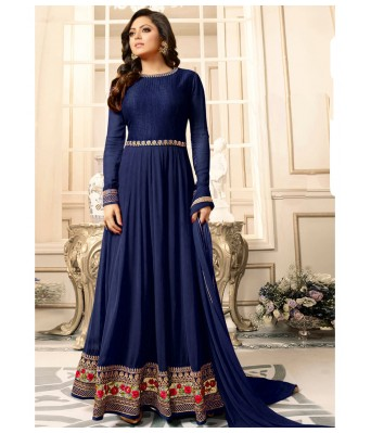 Dress Material - Blue Party Faux Geogette Semi-Stitched Anarkali Suit With Dupatta - RK Fashions