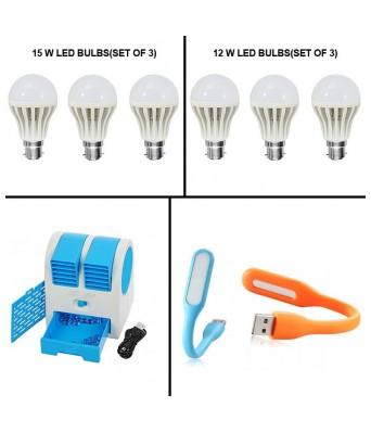 Vizio Combo Of 15 Watts Led Bulbs(Set Of 3) +12 Watts Led Bulb(Set Of 3) Rechargeable Cooler Fan & USB LIGHT