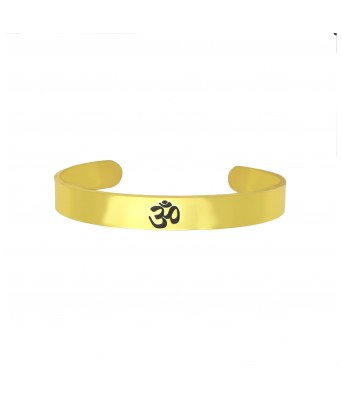 Gold Plated Stainless Steel Om Religulous Cuff Kada for Men & Boys