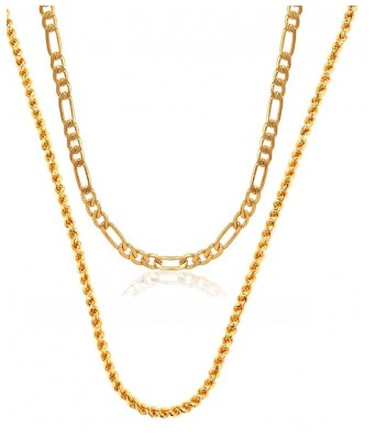 Charms Combo Of Two Gold Plated Alloy Chain