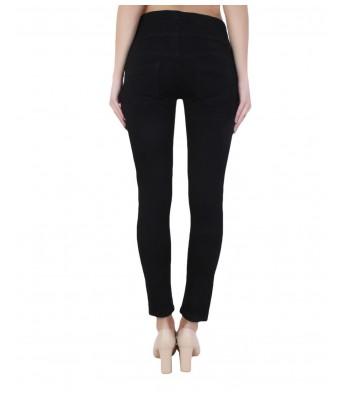 Ansh Fashion Wear Womens Regular Fit Denim Strechable Round Pocket High Distress Four Button Black Color Jeans