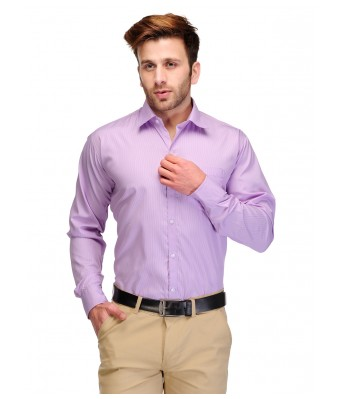 Formals by Koolpals-Cotton Blend Shirt White Vertical Stripes on Purple