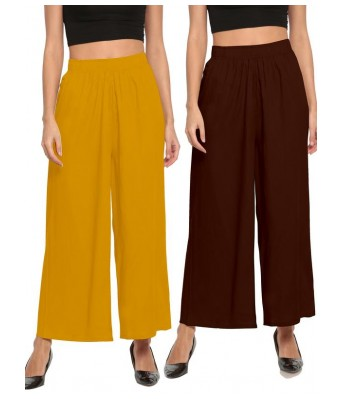 The Moon Coffee and Musterd Yellow Stlyist Woman Palazzo 2 Piece Combo