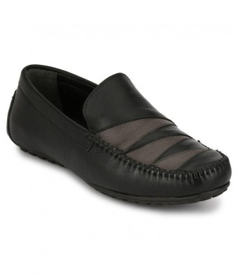 Boggy Confort Black Genuine Leather Loafers for Mens & Boys