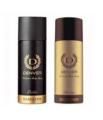 Denver Prestige and Caliber Combo Deodorant Spray - For Men  (330 ml, Pack of 2)