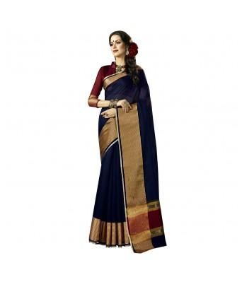 Triveni Blue Cotton Silk Festival Wear Woven Saree