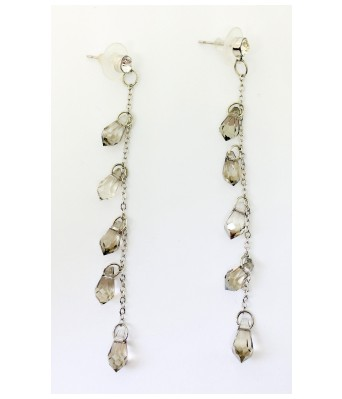 The Square One by Aditi Gautam ESMA Gray and silver Alloy Crystal AD  Pear Earring for Women & Girls