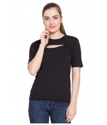 LeSuzaki Womens Black Front Cut Cotton Top