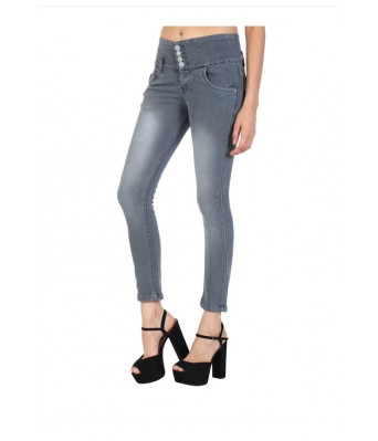 Veravibe Four Button Skinny Fit Dobby Jeans for Women - Grey-28