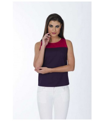 Casual Sleeveless Solid Womens Purple Top