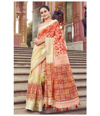 Triveni Multi Cotton Festival Wear Printed Saree with Blouse Piece