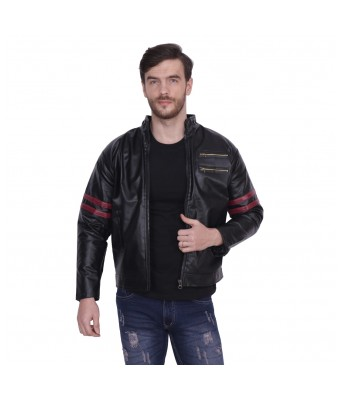 Yellow Tree High Quality Black / Red Faux Leather Jacket For Men's & Boy's