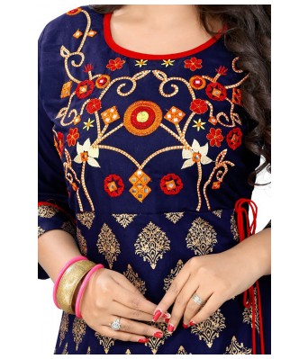 Blue  Printed Rayon Full Stitched Kurtis - RK Fashions
