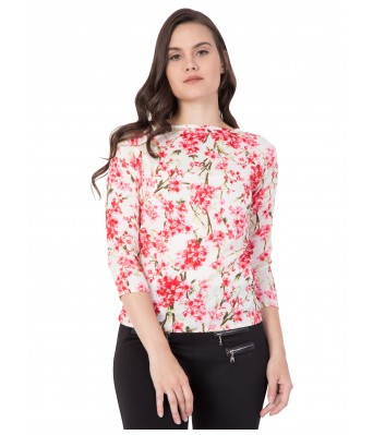 LeSuzaki Womens White Floral Print Poly Crepe Top