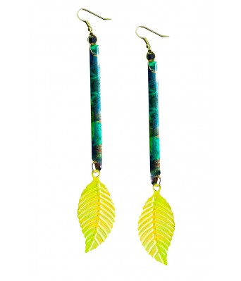 Art By Sargam Handicrafts Big Yellow Leaf Earring Fashion Sale Stylish and Sexy For Women And Girls_Yellow