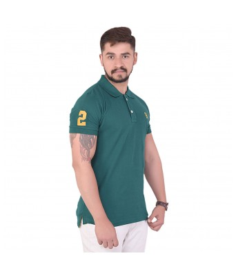 NEON-9 Solid Mens Polo Neck Green  T-Shirt