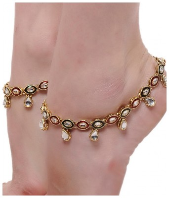 Aradhya Gold Plated Traditional Jewellery Kundan Payal Anklets for Women & Girls