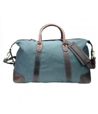 Grey Canvas Leather Trim Travel Bag