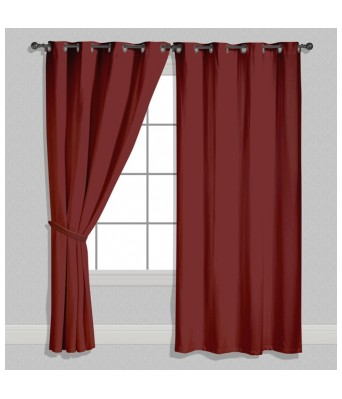 American-Elm Both Sided Solid Burgundy Satin Curtains- Two Panels