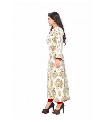 White Printed Cotton Full Stitched Kurtis - RK Fashions