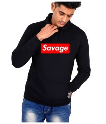 iLyk Mens Black Color Savage Printed Hoodie with side pocket