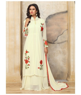 Dress Material - Cream Party Faux Georgette Semi-Stitched Salwar Suit With Dupatta - RK Fashions