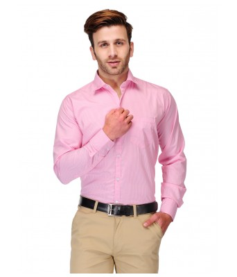 Formals by Koolpals-Cotton Blend Shirt White Vertical Stripes on Pink