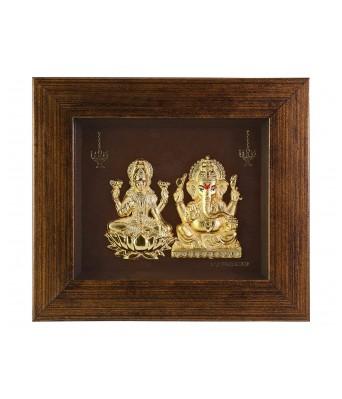 Satnam Gems 99.9 Fine Gold Ganesh and Laxmi Ji Picture Frame