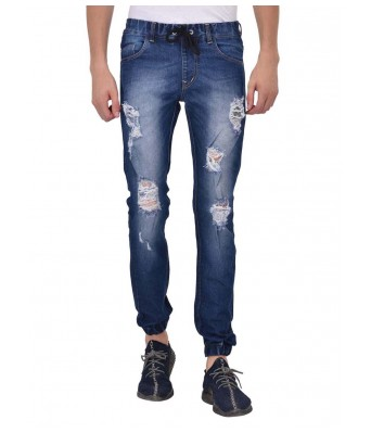 Ansh Fashion Wear Mens Denim Jogger - Regular Fit - Blue - Distress - Spray Monkey