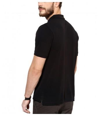 iLyk Mens  Black Solid Polo T-Shirt (Black)