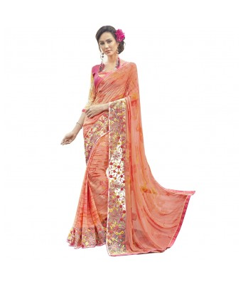 Triveni Orange Faux Georgette Everyday Wear Printed Sarees