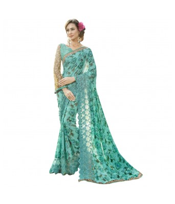 Triveni Green Faux Georgette Everyday Wear Printed Sarees