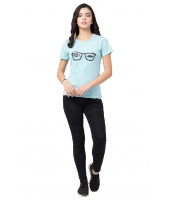 Light Blue SpecLS Printed Half Half T-Shirt for Women