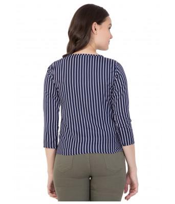 LeSuzaki Womens Navy Striped Design Poly Crepe Top