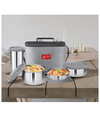 MILTON Delicious Combo Stainless Steel Insulated Tiffin, Set of 4, Grey