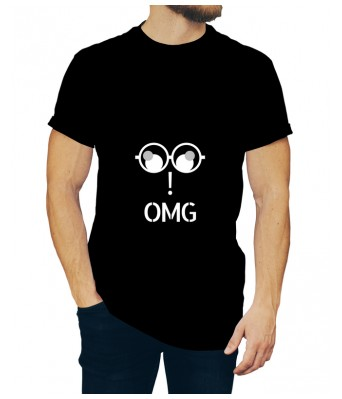 OMG iLyk Printed Cotton Black Color Round Neck T-shirt for Mens & Boys